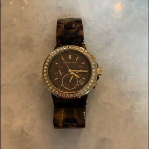 Michael Kors watch - tortoise band, gold face